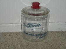 """VINTAGE ORIGINAL TOM'S TOASTED PEANUTS SNACKS GLASS DISPLAY JAR--11"""" X 7"""""""
