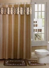18 pc Bath rug set Taupe tile design bathroom shower curtain/rings towels