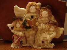 """4 Singing Angels Weighted Cloth Fabric Figure Christmas Decoration 12:""""x10"""" MINT"""