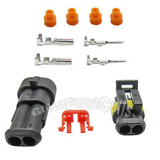 5 Kit 2 Pin Way Sealed Waterproof Electrical Wire Connector Plug Car Auto Set