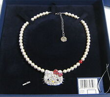 Swarovski Hello Kitty Polka Dots Necklace White Crystal Pearl Cats MIB - 1175750