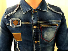 JEANS JACKE HEMD OLD SCHOOL TAILLIERT PATCHES USED LOOK LIGHT BLUE SLIM FIT XL