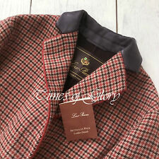NEW Auth Loro Piana OVERSIZE CASHMERE Wool Red Brown Tweed Long Coat Size IT40 S
