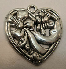 """heart ribbon jewelry finding charm  make necklace earrings silver 1"""""""