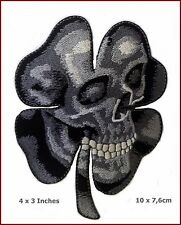 Irish Clover Shamrock Camo Grey Skull Biker Celtic Patch 10 x 7,5 cm