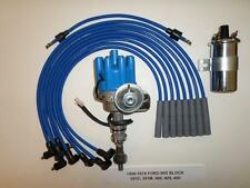 FORD 351C-400M-429-460 BLUE Female Small HEI Distributor, 40k Coil & PLUG WIRES