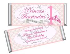 Pink Princess First Birthday Candy Bar Wrappers - Girl Baby Shower - Set/12