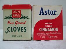 Vintage Lot of 2 Spices ANN PAGE Cloves Tin & ASTOR Whole Stick Cinnamon Box