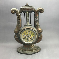 VINTAGE UNITED ANIMATED WAITER MUSICIAN MOTION HARP THERMOMETER CLOCK