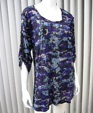 ERGE DESIGNS LONG SLEEVE SHEER BLOUSE SIZE L, MULTICOLORED