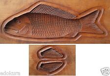 ANTIQUE JAPANESE KASHIGATA Hand Carved Wooden Cake Mold - Fish