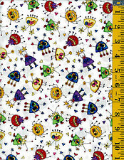Monster Mash Alien fabric Quilt Cotton Quilting Treasures Small Monsters White