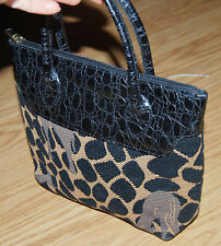 LIZ COX beige black NEEDLEPOINT alligator LEATHER small TOTE purse bag GIRAFFE