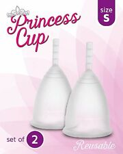 Princess Menstrual Cup 2 PACK Small MODEL 1 Reusable Silicone CLEAR Set FROM USA