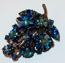 VINTAGE SIGNED WEISS BLUE & GREEN MARGARITA RHINESTONES GUNMETAL GRAY BROOCH PIN