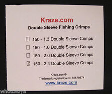 150 Bundle Pack 2.4 mm Fishing Leader Double Sleeves Crimps USA Made whotoldya
