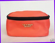1 Victoria's Secret ORANGE Cosmetic Makeup Beauty Pouch Travel Bag Square Small