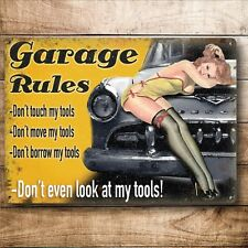 GARAGE RULES/ PIN-UP, VINTAGE-STYLE METAL SIGN 30X20cm (MEDIUM) MAN CAVE/SHED