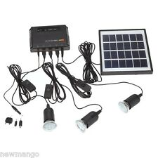NEW Bright Solar Light 4W 3-Lamp Mobile Phone Charger Home System Kit Camping