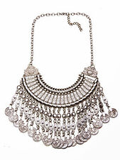 SENSATIONAL SILVER TONE STATEMENT 'AZTEC' NECKLACE COINS CHARMS TASSELS (CL30)