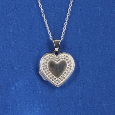 AU STERLING SILVER CLEAR CRYSTALS HEART LOCKET NECKLACE 925 FINE 1255