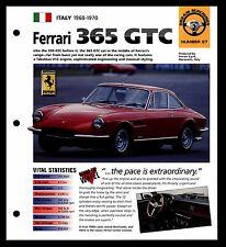 """""""FERRARI 365 GTC"""" (1968-1970) FOLDOUT SPEC SHEET-HOT CAR-DREAM MACHINE"""
