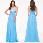 New Long Strapless Sweetheart Chiffon Prom Dress Ball Gown Party Evening Blue ++