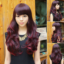 Womens Full Wig Curly Wavy Long Hair Anime Cosplay Party Fashion Wine Red Ombre