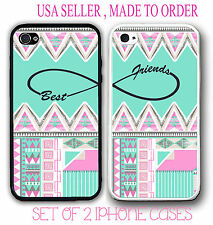 Custom Mint Aztec BFF Best Friends Case- 2 Rubber Silicone Cases For iPhone 5 6S