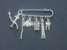 Dentist charm pin brooch badge tooth floss toothbrush toothpaste apple
