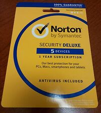 NORTON SECURITY DELUXE 2016 5-Device PC/MAC/Android/iOS NEW BOX SHIPS FREE 3 DAY