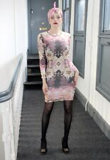 Topshop Pink Cream Flower Dress Boho fitted body con digital print size 10
