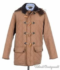 BARBOUR Duracotton Brown Cotton Diamond Quilted Hooded Duffle Coat Jacket LARGE