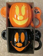 New Disney Mickey & Minnie Mouse Halloween Ceramic Mug Set of 2 coffee pumpkins