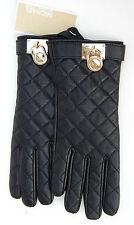 MICHAEL KORS WOMENS BLACK QUILTED GENUINE LEATHER GLOVES sz L NEW AUTHENTIC