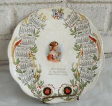 Beautiful Antique 1910 Calendar Plate Beautiful Lady Center Michigan Souvenir
