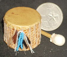 Mini Southwest Native American Indian Style Leather Drum 1:12 Instrument #1811