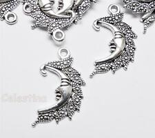 20 Antique Silver Crescent Moon Charms  LF NF CF - Man in Moon Pendants 25mm