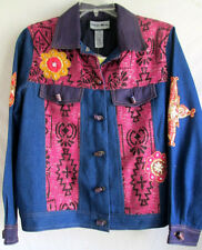 INDIGO MOON...DENIM...EMBROIDERED...JACKET...w GLASS BUTTONS...NEW w TAGS...M/L