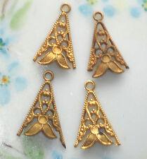 #1154G Vintage Drops Victorian Art Nouveau Filigree Connectors Gold Tone brass