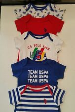 U.S. Polo Assn. Newborn Boys 5  Pack Bodysuit Size 6M