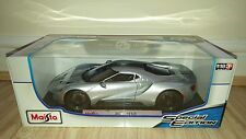 Maisto 2017 FORD GT SILVER RARE 1:18 DIECAST MODEL SPECIAL EDITION NEW BOXED.