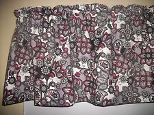 Charcoal Gray Black Red Paisley retro mid-century Fabric Curtain topper Valance