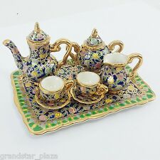 Miniature Thai Porcelain BENJARONG Tea Set Royal Blue 24K Gold Collectibles New