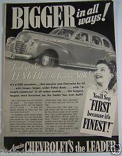 Vintage Chevrolet Car Ad 1941 Bigger in All Ways! Kellogg's All Bran Cereal