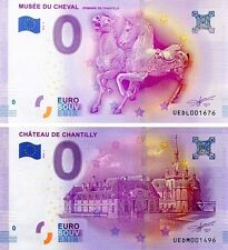 LOT 2 BILLETS NEUFS ZERO EURO MUSEE DU CHEVAL CHANTILLY + CHATEAU DE CHANTILLY