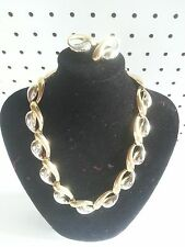 """19""""Classic Necklace and Small Pierced Earring Set Faux Gold and Silver costume"""