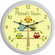 Owls in tree Baby Child Nursery Owl Custom Personalized Wall Clock New
