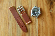 Handmade USA Horween English Tan Dublin Leather 2piece Watch Strap Band 20mm