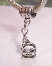 Phonograph Antique Record Player Dangle Bead for Silver European Charm Bracelets